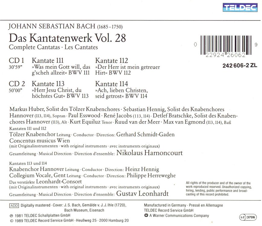 Cantata BWV 113 - Details & Discography Part 1: Complete Recordings